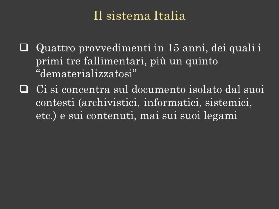 Quattro provvedimenti in 15 anni, dei quali i primi tre fallimentari, più un quinto dematerializzatosi Ci si concentra sul documento isolato dal suoi contesti (archivistici, informatici, sistemici, etc.) e sui contenuti, mai sui suoi legami Il sistema Italia