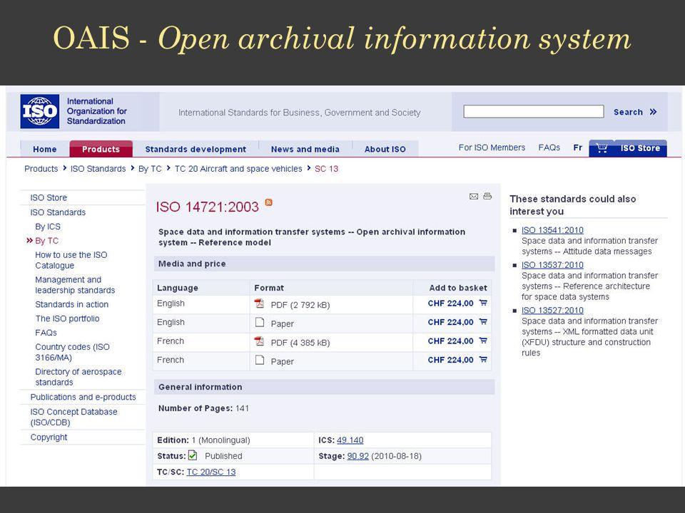 OAIS - Open archival information system