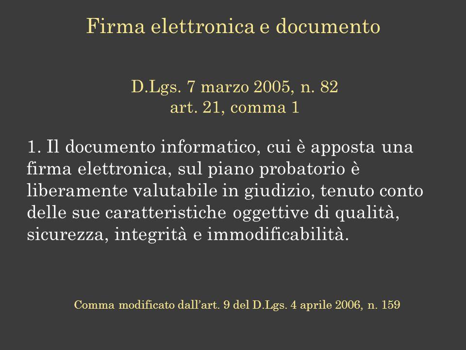 Considerazione e Domande derivanti dallanalisi congiunta del DPCM e del CAD Considerazione: Non ai sensi, ma con il valore Domande non peregrine: Firma o sottoscrizione.