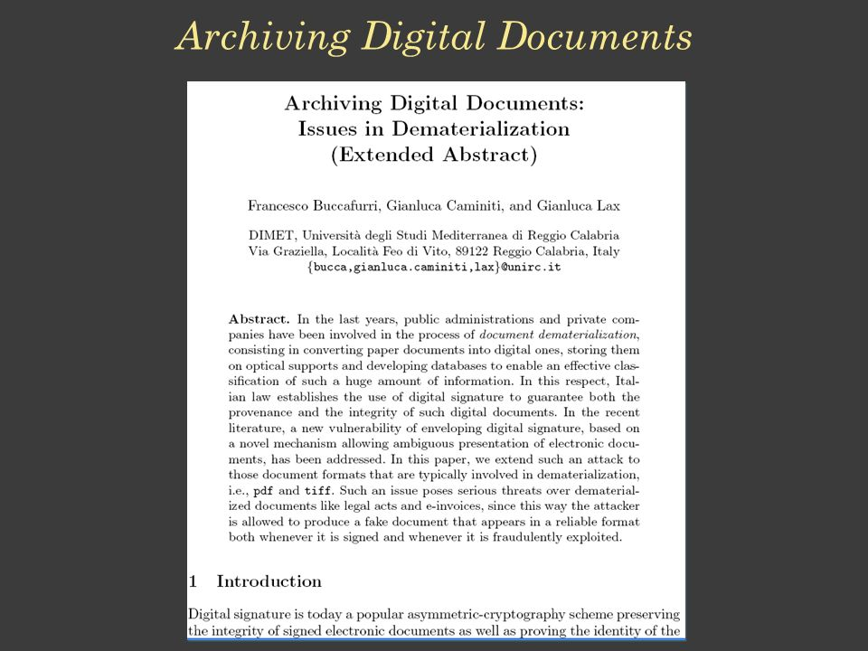 Archiving Digital Documents