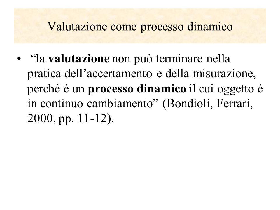 Valutazione come processo dinamico la valutazione non può terminare nella pratica dellaccertamento e della misurazione, perché è un processo dinamico