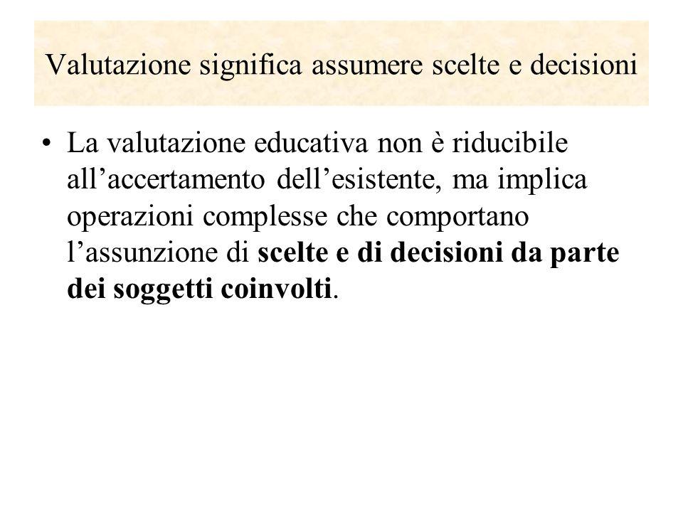 Valutazione significa assumere scelte e decisioni La valutazione educativa non è riducibile allaccertamento dellesistente, ma implica operazioni compl
