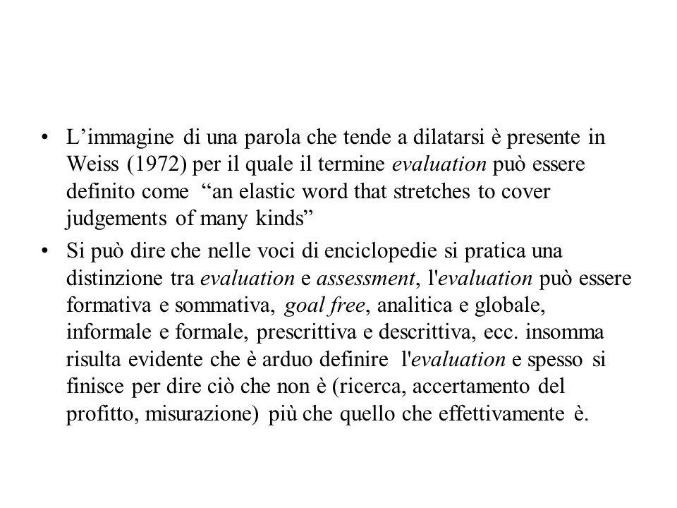 Limmagine di una parola che tende a dilatarsi è presente in Weiss (1972) per il quale il termine evaluation può essere definito come an elastic word t
