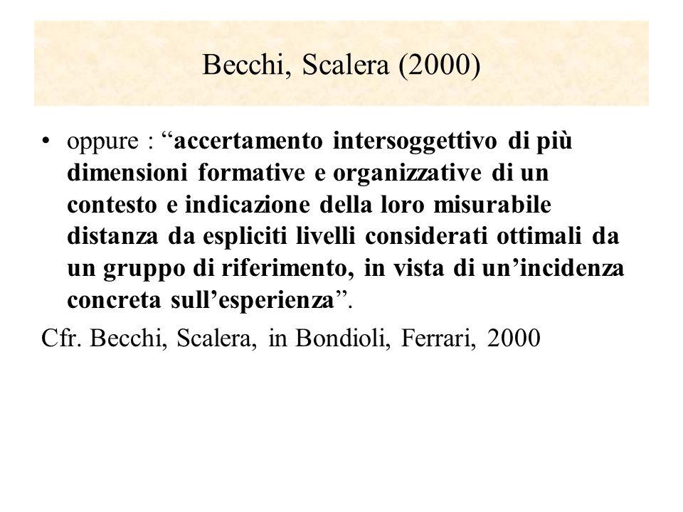 Becchi, Scalera (2000) oppure : accertamento intersoggettivo di più dimensioni formative e organizzative di un contesto e indicazione della loro misur
