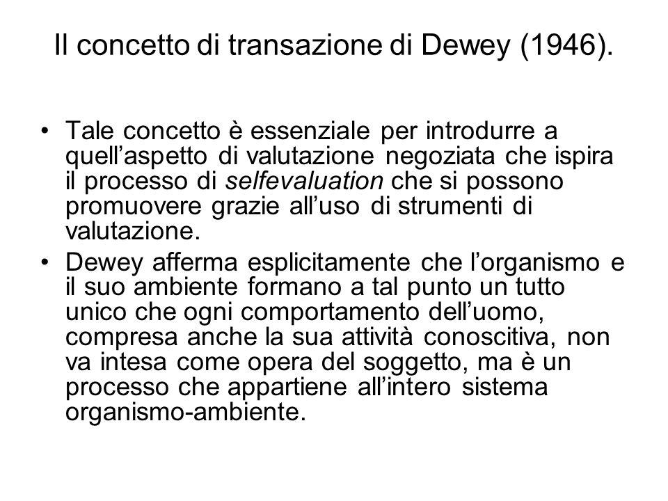 Il concetto di transazione di Dewey (1946). Tale concetto è essenziale per introdurre a quellaspetto di valutazione negoziata che ispira il processo d