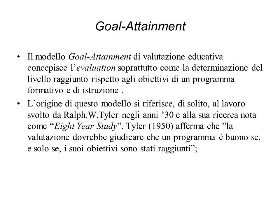 Goal-Attainment Il modello Goal-Attainment di valutazione educativa concepisce levaluation soprattutto come la determinazione del livello raggiunto ri