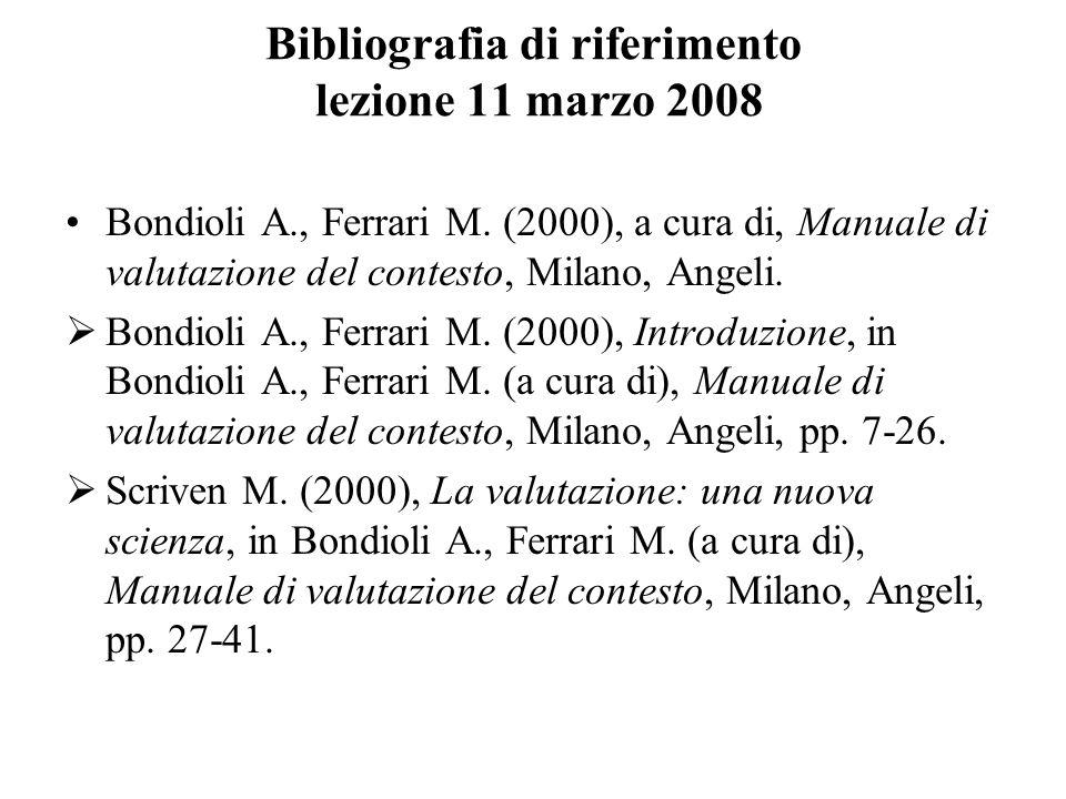Bibliografia di riferimento lezione 11 marzo 2008 Bondioli A., Ferrari M. (2000), a cura di, Manuale di valutazione del contesto, Milano, Angeli. Bond