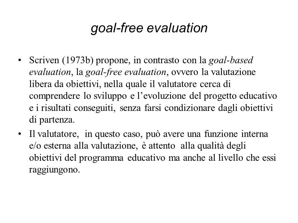 goal-free evaluation Scriven (1973b) propone, in contrasto con la goal-based evaluation, la goal-free evaluation, ovvero la valutazione libera da obie