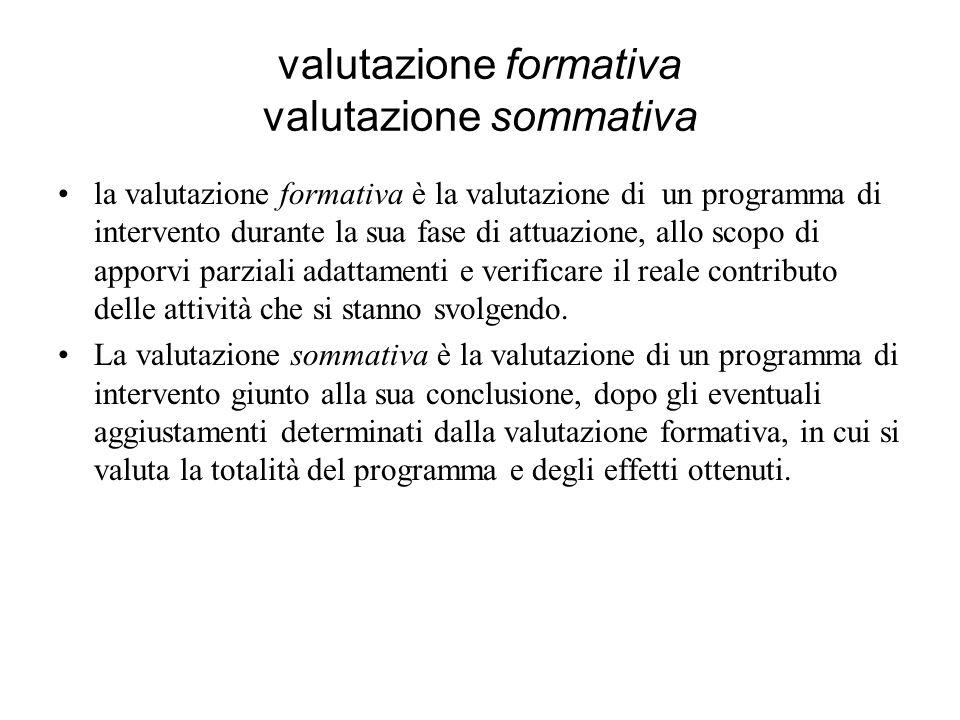 valutazione formativa valutazione sommativa la valutazione formativa è la valutazione di un programma di intervento durante la sua fase di attuazione,