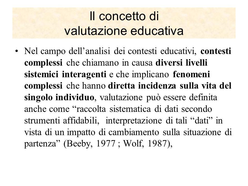 Il concetto di valutazione educativa Nel campo dellanalisi dei contesti educativi, contesti complessi che chiamano in causa diversi livelli sistemici