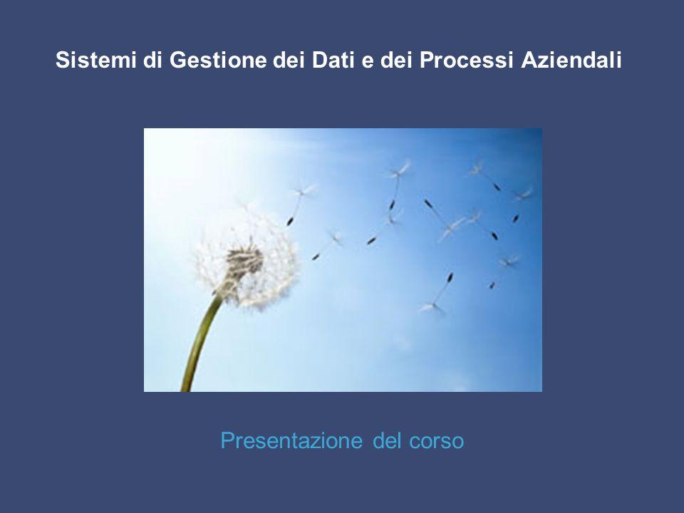 Sistemi di Gestione dei Dati e dei Processi Aziendali Presentazione del corso