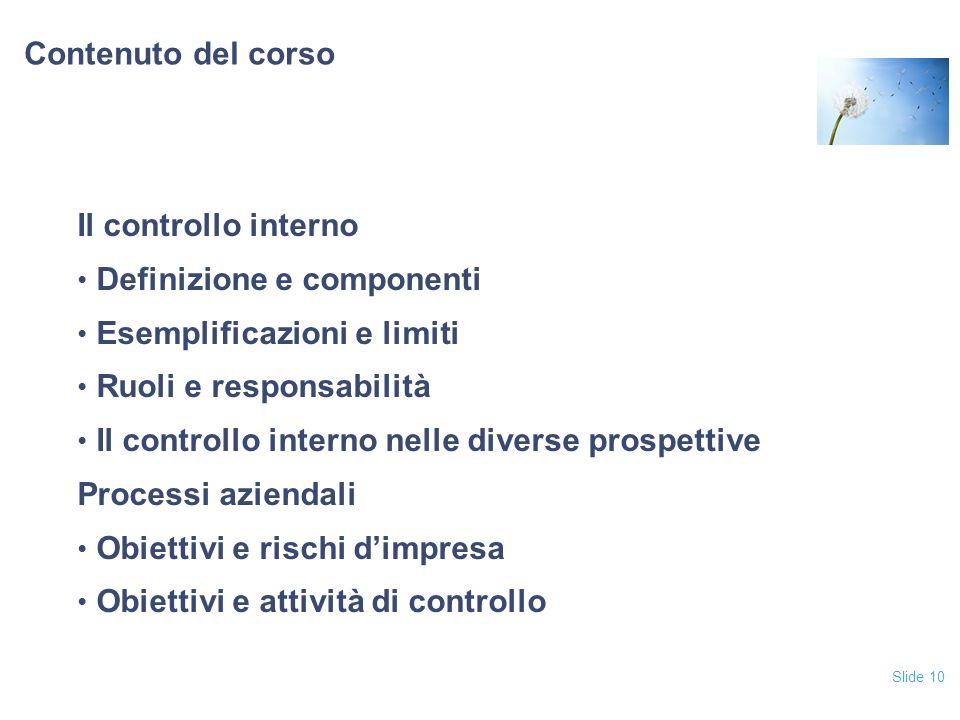 Slide 10 Contenuto del corso Il controllo interno Definizione e componenti Esemplificazioni e limiti Ruoli e responsabilità Il controllo interno nelle diverse prospettive Processi aziendali Obiettivi e rischi dimpresa Obiettivi e attività di controllo