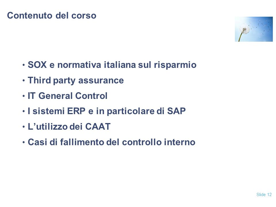 Slide 12 Contenuto del corso SOX e normativa italiana sul risparmio Third party assurance IT General Control I sistemi ERP e in particolare di SAP Lut
