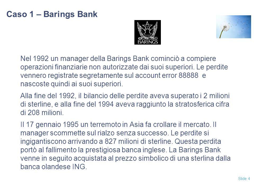 Slide 4 Caso 1 – Barings Bank Nel 1992 un manager della Barings Bank cominciò a compiere operazioni finanziarie non autorizzate dai suoi superiori.