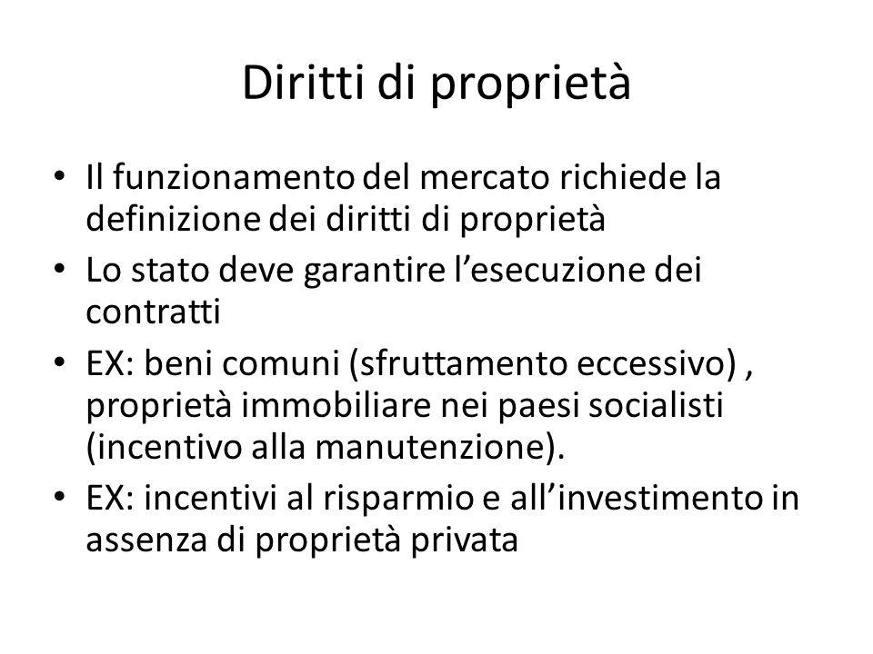 Diritti di proprietà Il funzionamento del mercato richiede la definizione dei diritti di proprietà Lo stato deve garantire lesecuzione dei contratti EX: beni comuni (sfruttamento eccessivo), proprietà immobiliare nei paesi socialisti (incentivo alla manutenzione).