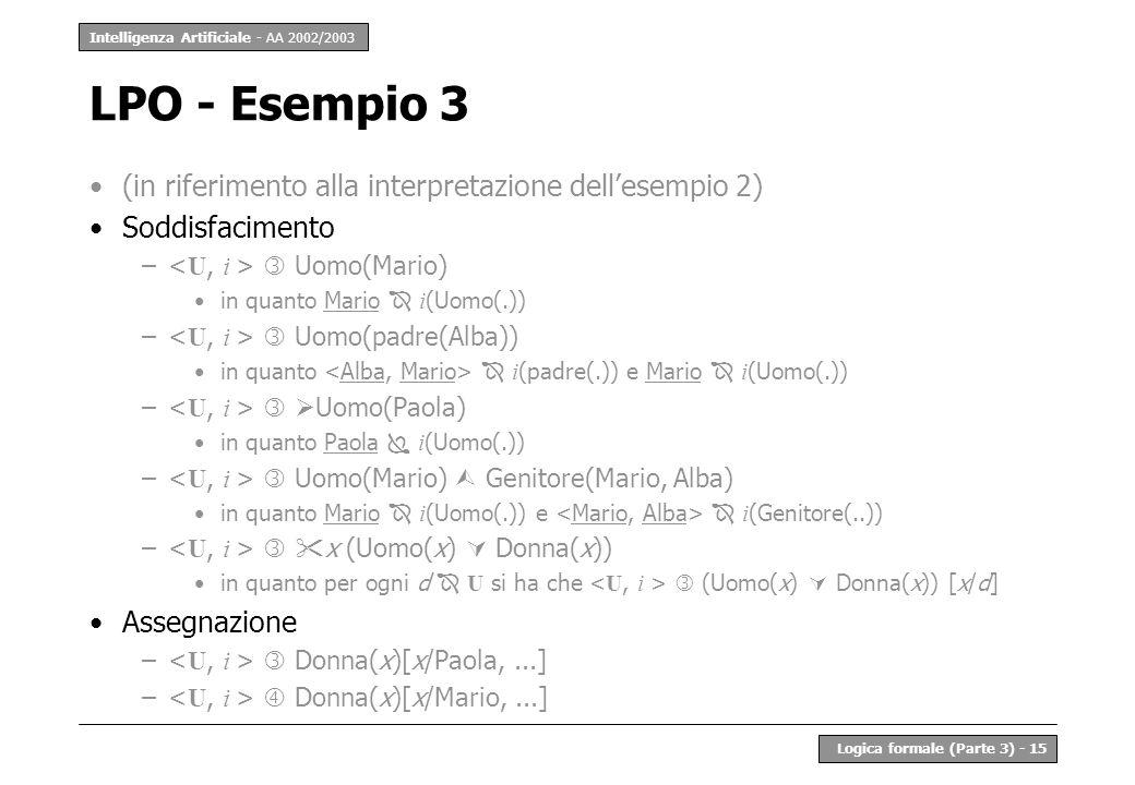 Intelligenza Artificiale - AA 2002/2003 Logica formale (Parte 3) - 15 LPO - Esempio 3 (in riferimento alla interpretazione dellesempio 2) Soddisfacime
