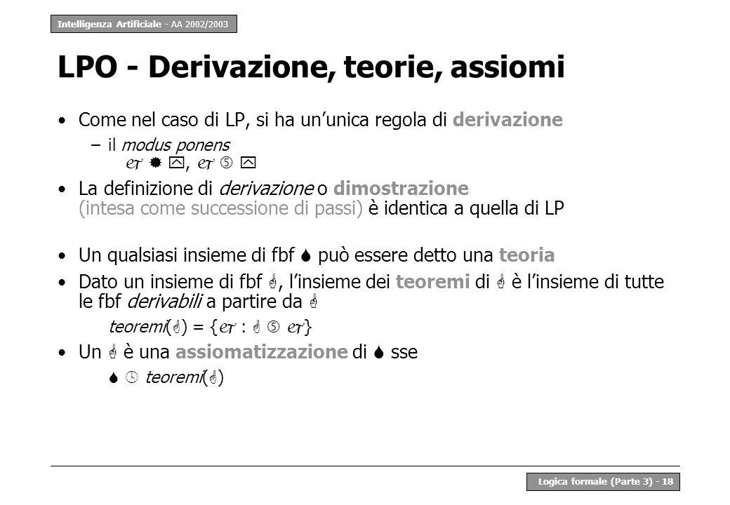 Intelligenza Artificiale - AA 2002/2003 Logica formale (Parte 3) - 18 LPO - Derivazione, teorie, assiomi Come nel caso di LP, si ha ununica regola di