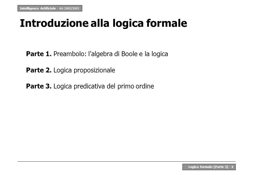 Intelligenza Artificiale - AA 2002/2003 Logica formale (Parte 3) - 13 LPO - Esempio 2 Linguaggio –simboli predicativi: Uomo(.), Donna(.), Fratello(..), Sorella(..), Genitore(..) –simboli funzionali: madre(.), padre(.) –variabili: x, y, z,...