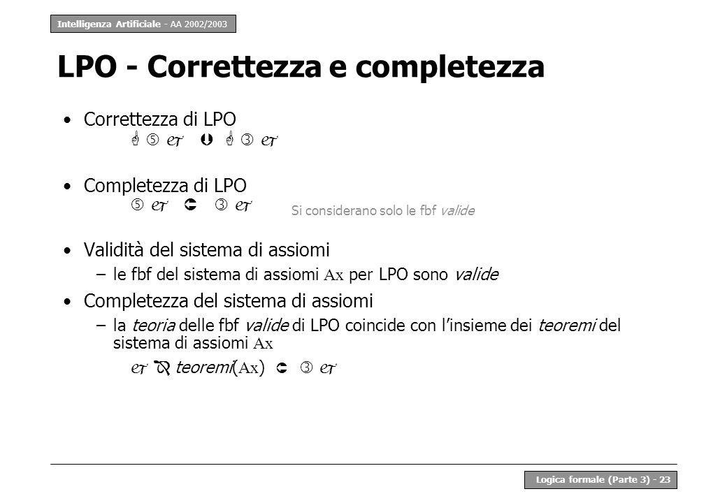Intelligenza Artificiale - AA 2002/2003 Logica formale (Parte 3) - 23 LPO - Correttezza e completezza Correttezza di LPO Completezza di LPO Validità d