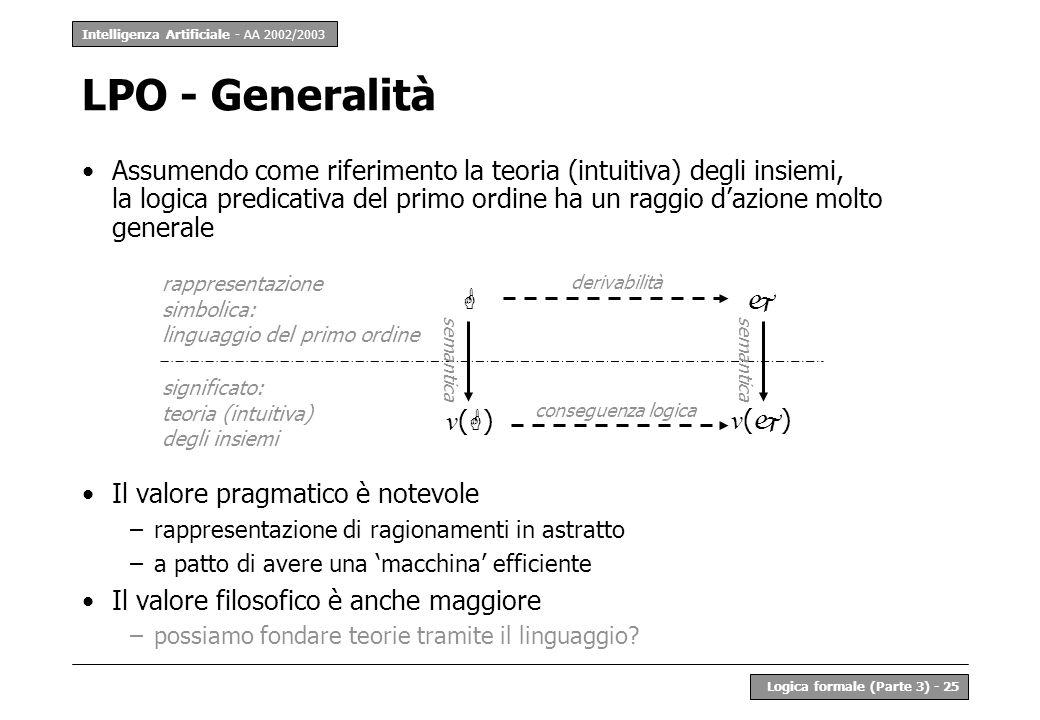Intelligenza Artificiale - AA 2002/2003 Logica formale (Parte 3) - 25 LPO - Generalità Assumendo come riferimento la teoria (intuitiva) degli insiemi,