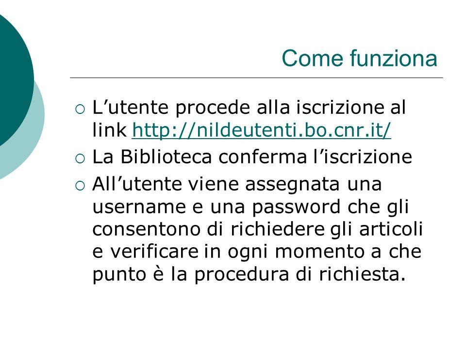 Come funziona Lutente procede alla iscrizione al link http://nildeutenti.bo.cnr.it/http://nildeutenti.bo.cnr.it/ La Biblioteca conferma liscrizione Allutente viene assegnata una username e una password che gli consentono di richiedere gli articoli e verificare in ogni momento a che punto è la procedura di richiesta.