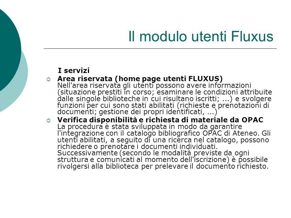Il modulo utenti Fluxus I servizi Area riservata (home page utenti FLUXUS) Nell area riservata gli utenti possono avere informazioni (situazione prestiti in corso; esaminare le condizioni attribuite dalle singole biblioteche in cui risultano iscritti;...) e svolgere funzioni per cui sono stati abilitati (richieste e prenotazioni di documenti; gestione dei propri identificati,...) Verifica disponibilità e richiesta di materiale da OPAC La procedura è stata sviluppata in modo da garantire l integrazione con il catalogo bibliografico OPAC di Ateneo.
