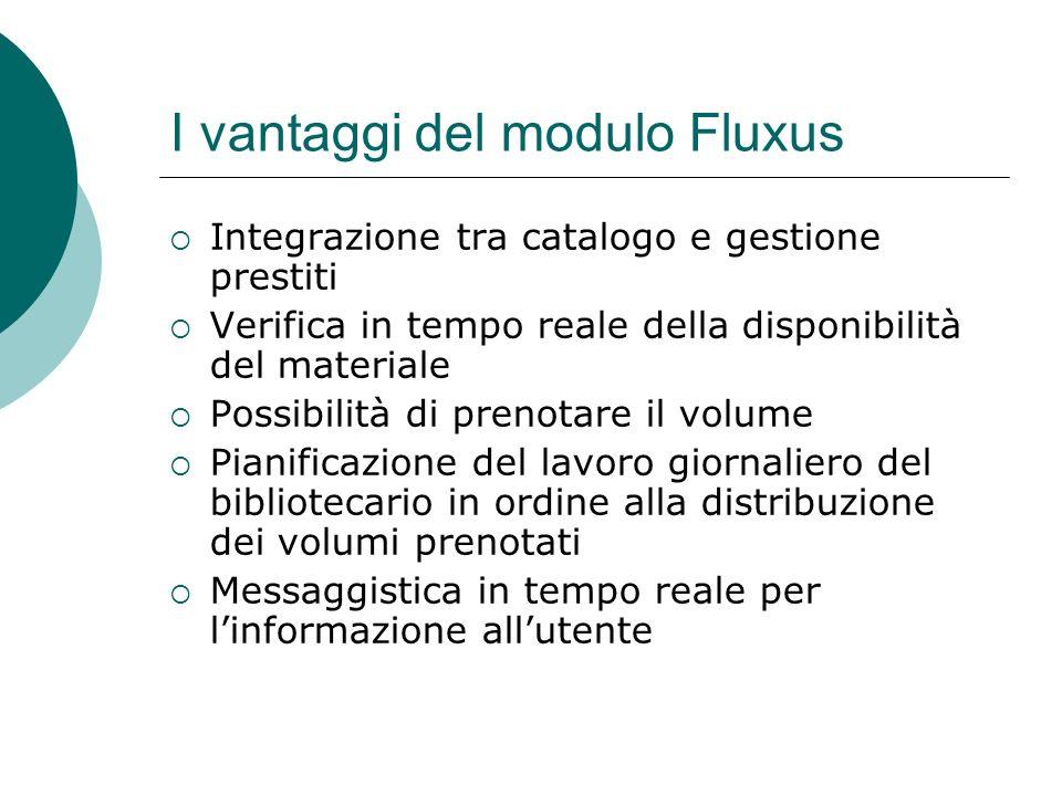 I vantaggi del modulo Fluxus Integrazione tra catalogo e gestione prestiti Verifica in tempo reale della disponibilità del materiale Possibilità di pr
