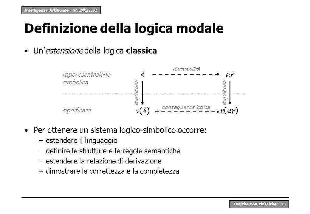 Intelligenza Artificiale - AA 2001/2002 Logiche non classiche - 15 Definizione della logica modale Unestensione della logica classica Per ottenere un