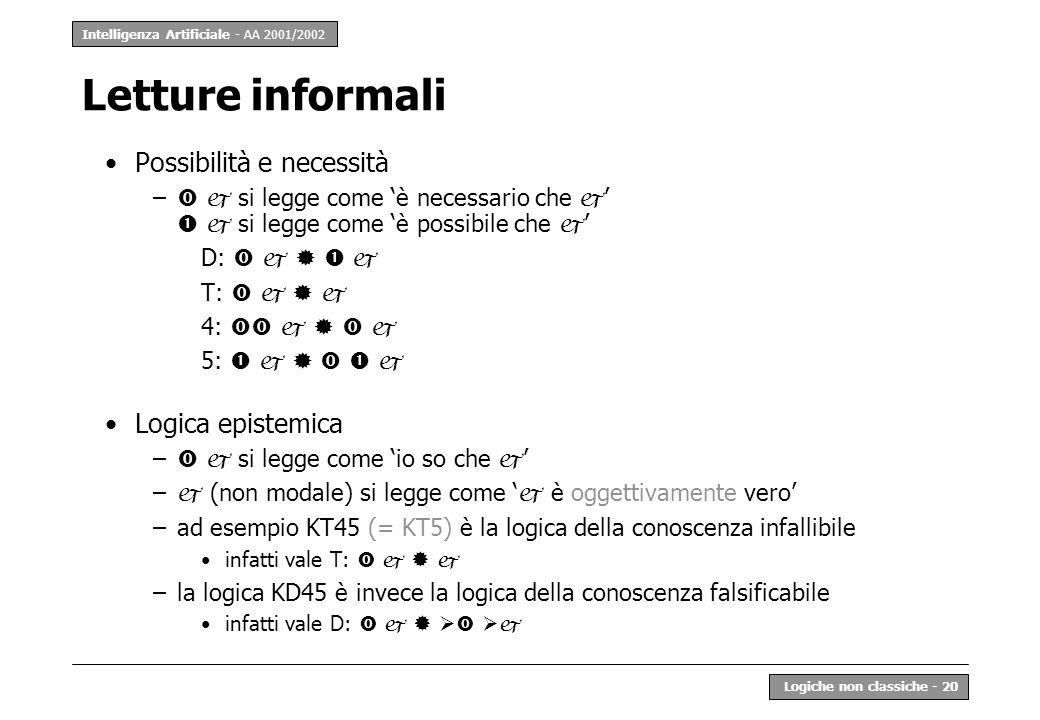 Intelligenza Artificiale - AA 2001/2002 Logiche non classiche - 20 Letture informali Possibilità e necessità – si legge come è necessario che si legge