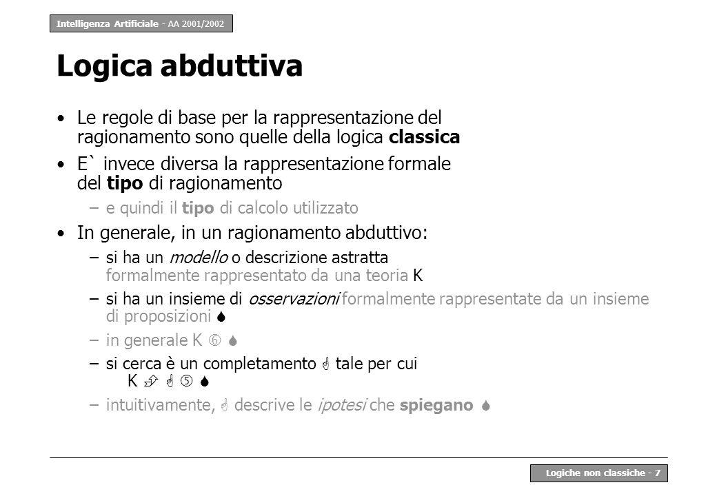 Intelligenza Artificiale - AA 2001/2002 Logiche non classiche - 7 Logica abduttiva Le regole di base per la rappresentazione del ragionamento sono que