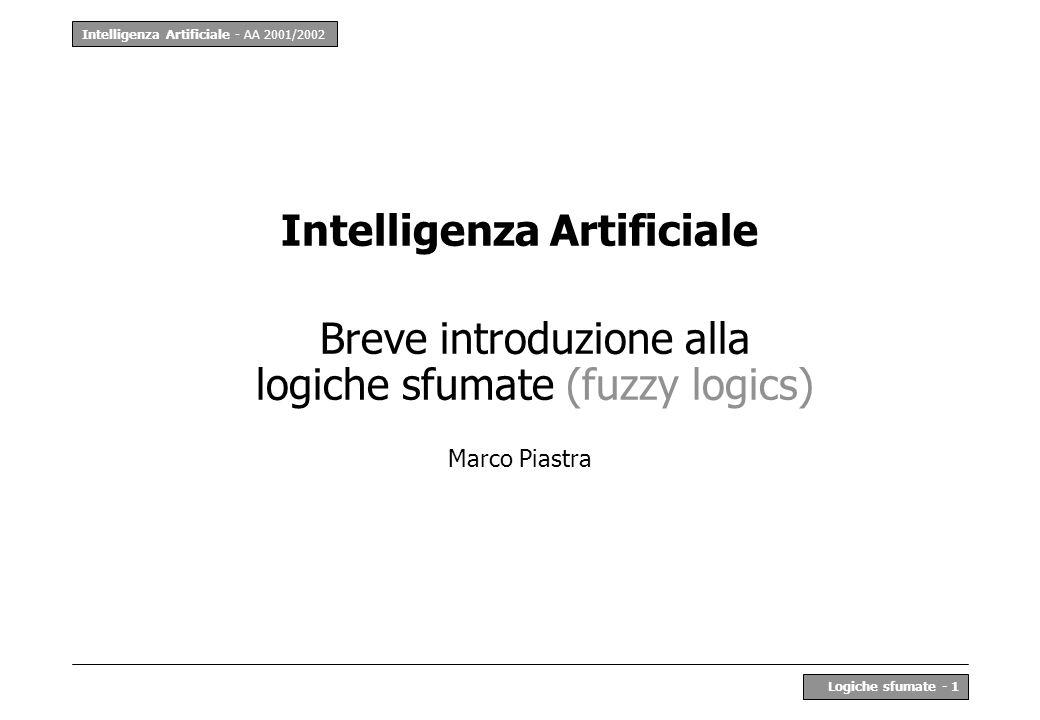 Intelligenza Artificiale - AA 2001/2002 Logiche sfumate - 1 Intelligenza Artificiale Breve introduzione alla logiche sfumate (fuzzy logics) Marco Piastra
