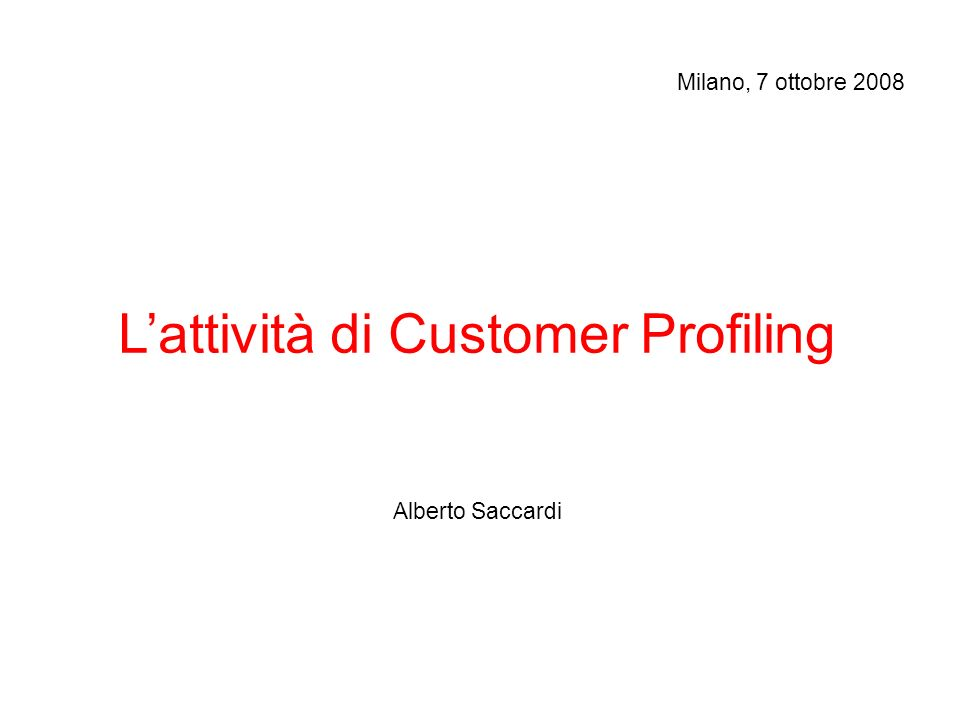 R.O.I.Proposta commerciale: selezione target e product mix.