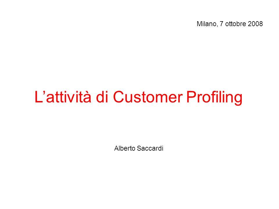 Lattività di Customer Profiling Alberto Saccardi Milano, 7 ottobre 2008