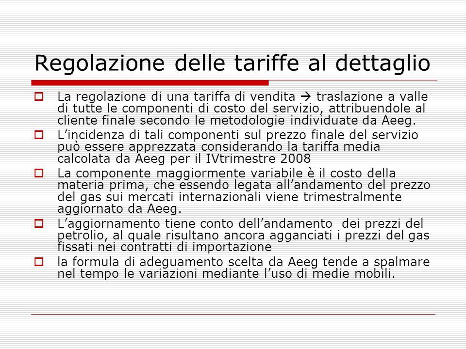 Regolazione delle tariffe al dettaglio La regolazione di una tariffa di vendita traslazione a valle di tutte le componenti di costo del servizio, attribuendole al cliente finale secondo le metodologie individuate da Aeeg.
