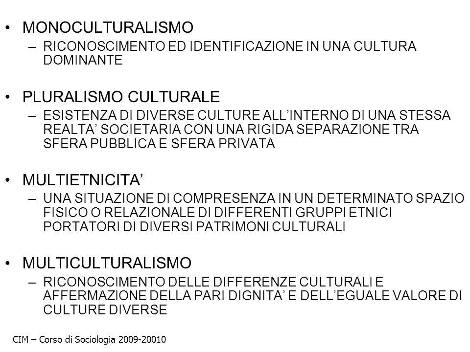 MONOCULTURALISMO –RICONOSCIMENTO ED IDENTIFICAZIONE IN UNA CULTURA DOMINANTE PLURALISMO CULTURALE –ESISTENZA DI DIVERSE CULTURE ALLINTERNO DI UNA STES