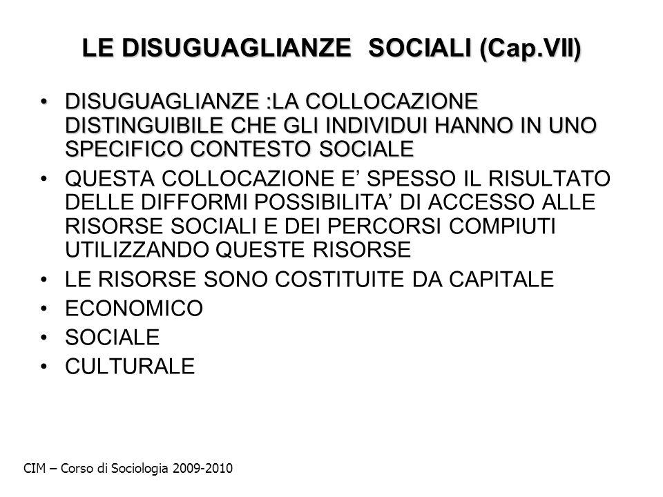 LE DISUGUAGLIANZE SOCIALI (Cap.VII) DISUGUAGLIANZE :LA COLLOCAZIONE DISTINGUIBILE CHE GLI INDIVIDUI HANNO IN UNO SPECIFICO CONTESTO SOCIALEDISUGUAGLIA