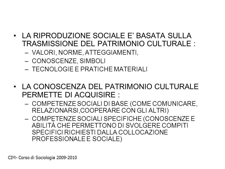 LA RIPRODUZIONE SOCIALE E BASATA SULLA TRASMISSIONE DEL PATRIMONIO CULTURALE : –VALORI, NORME, ATTEGGIAMENTI, –CONOSCENZE, SIMBOLI –TECNOLOGIE E PRATI