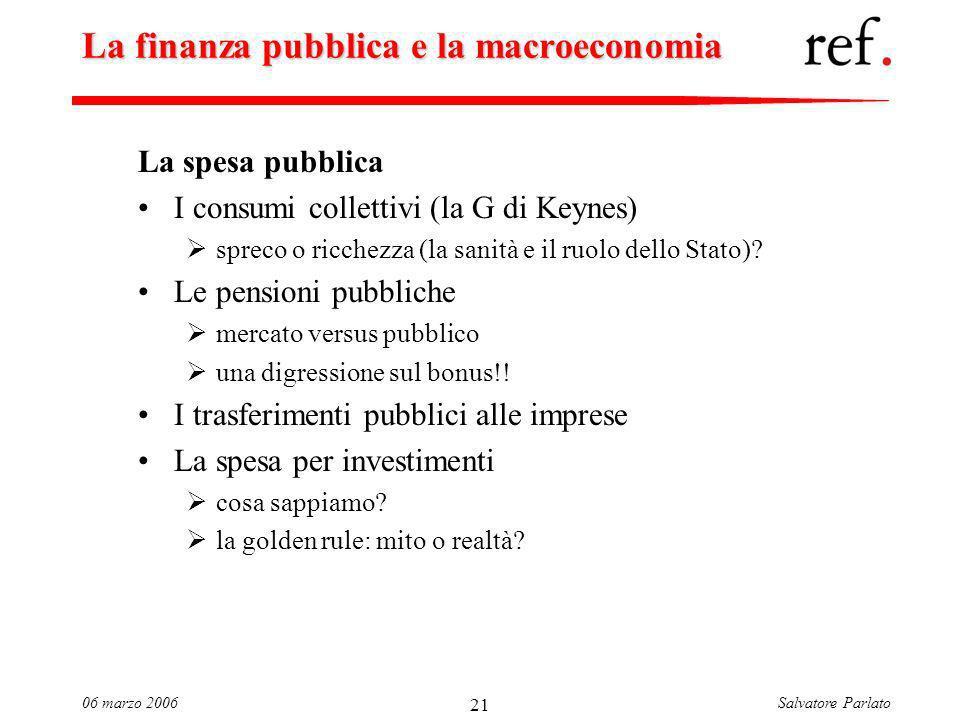 Salvatore Parlato06 marzo 2006 21 La finanza pubblica e la macroeconomia La spesa pubblica I consumi collettivi (la G di Keynes) spreco o ricchezza (la sanità e il ruolo dello Stato).