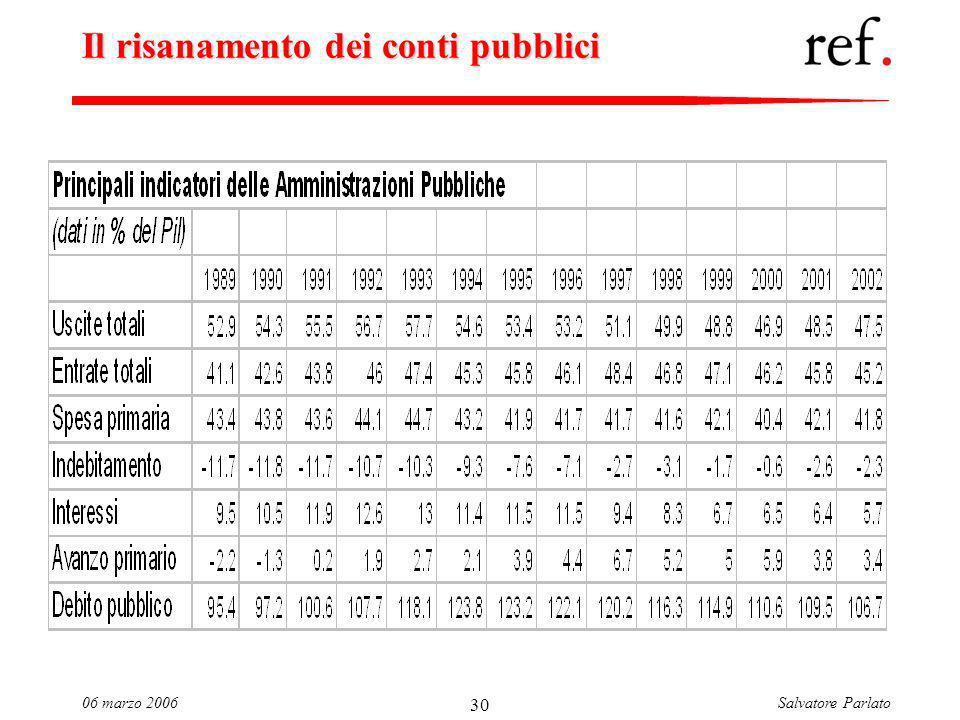 Salvatore Parlato06 marzo 2006 30 Il risanamento dei conti pubblici