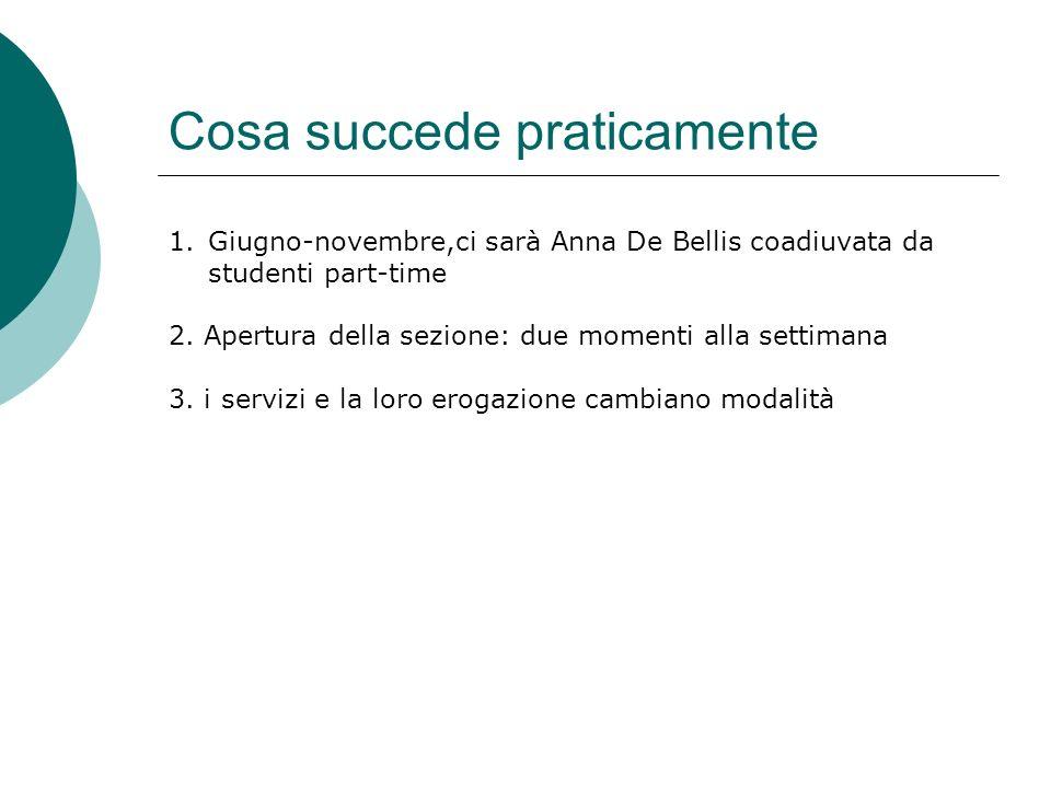Cosa succede praticamente 1.Giugno-novembre,ci sarà Anna De Bellis coadiuvata da studenti part-time 2. Apertura della sezione: due momenti alla settim