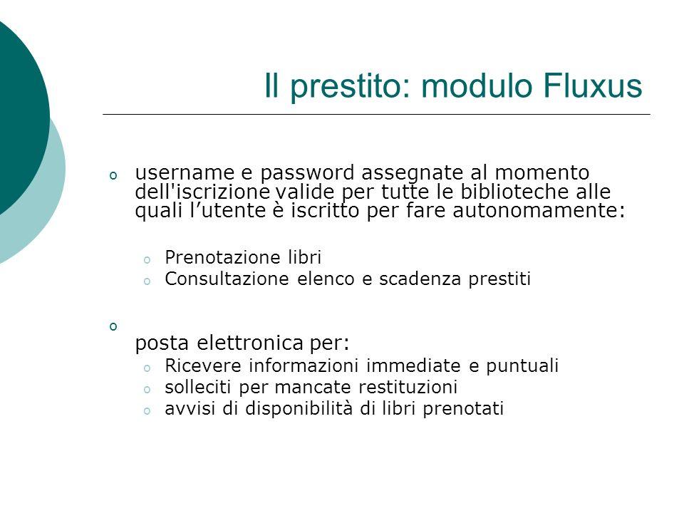 Il prestito: modulo Fluxus o username e password assegnate al momento dell'iscrizione valide per tutte le biblioteche alle quali lutente è iscritto pe