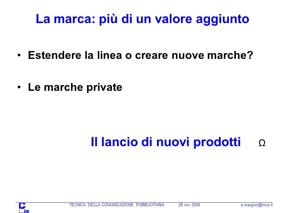 TECNICA DELLA COMUNICAZIONE PUBBLICITARIA 28 nov 2006 a.margoni@mcs.it La marca: più di un valore aggiunto Estendere la linea o creare nuove marche.