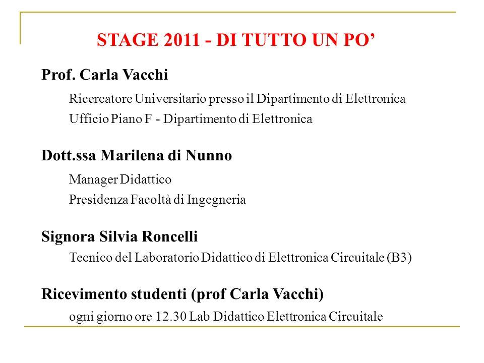 STAGE 2011 - DI TUTTO UN PO Prof. Carla Vacchi Ricercatore Universitario presso il Dipartimento di Elettronica Ufficio Piano F - Dipartimento di Elett