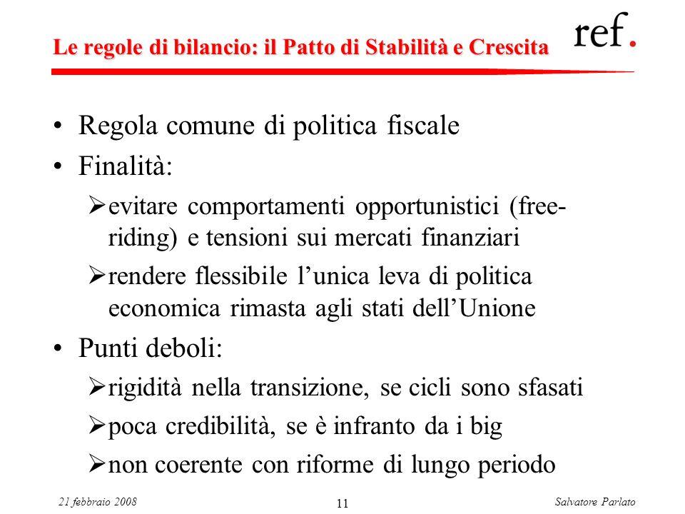 Salvatore Parlato21 febbraio 2008 11 Le regole di bilancio: il Patto di Stabilità e Crescita Regola comune di politica fiscale Finalità: evitare compo