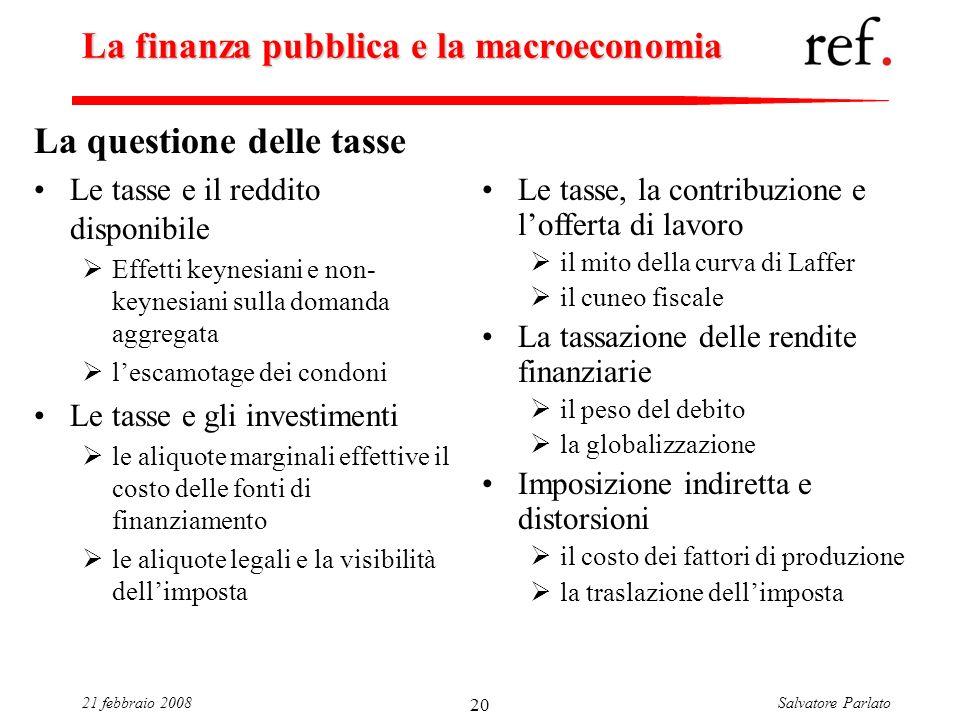 Salvatore Parlato21 febbraio 2008 20 La finanza pubblica e la macroeconomia La questione delle tasse Le tasse e il reddito disponibile Effetti keynesi