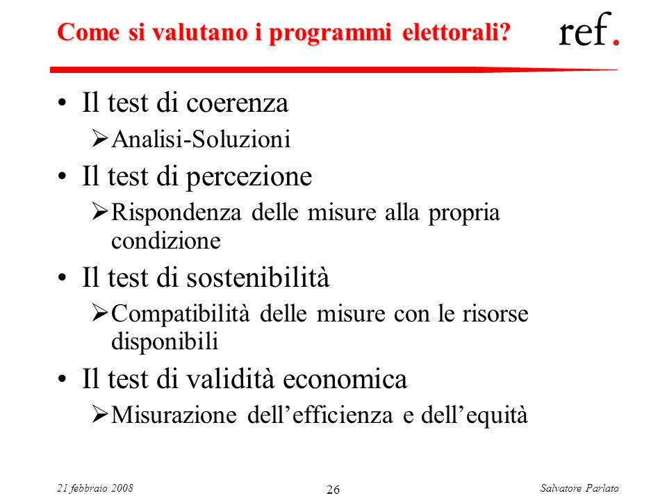 Salvatore Parlato21 febbraio 2008 26 Come si valutano i programmi elettorali? Il test di coerenza Analisi-Soluzioni Il test di percezione Rispondenza