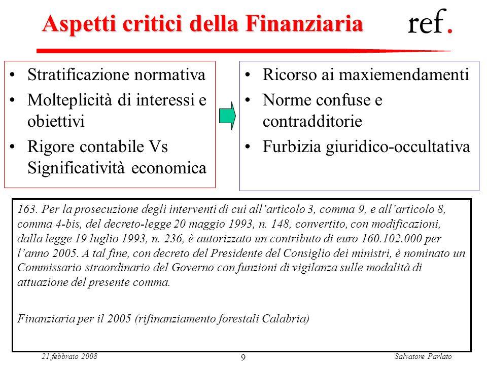 Salvatore Parlato21 febbraio 2008 9 Aspetti critici della Finanziaria Stratificazione normativa Molteplicità di interessi e obiettivi Rigore contabile