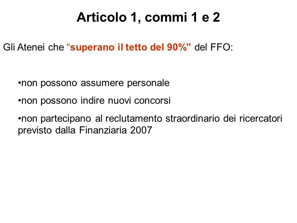Articolo 1, commi 1 e 2 Gli Atenei che superano il tetto del 90% del FFO: non possono assumere personale non possono indire nuovi concorsi non partecipano al reclutamento straordinario dei ricercatori previsto dalla Finanziaria 2007