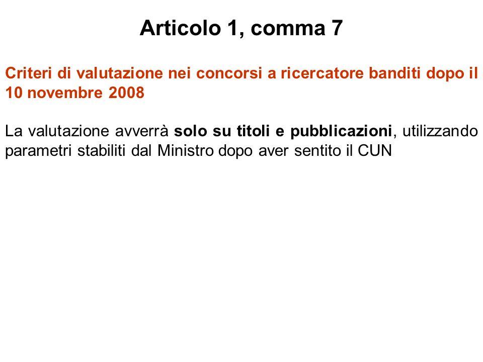 Articolo 1, comma 7 Criteri di valutazione nei concorsi a ricercatore banditi dopo il 10 novembre 2008 La valutazione avverrà solo su titoli e pubblicazioni, utilizzando parametri stabiliti dal Ministro dopo aver sentito il CUN