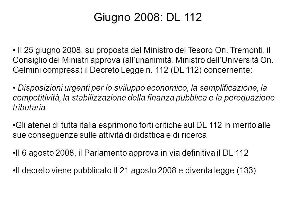 Giugno 2008: DL 112 Il 25 giugno 2008, su proposta del Ministro del Tesoro On.